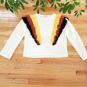 Zara Trafaluc   Multicolor Fringe Sweater   Small